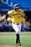 Michigan Wolverines first baseman Hector Gutierrez (24) runs to first base during a game against Army West Point on February 17, 2018 at Tradition Field in St. Lucie, Florida.  Army defeated Michigan 4-3.  (Mike Janes/Four Seam Images)