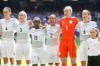 GB players sing the national anthem before kick-off - Great Britain Women vs New Zealand Women - Womens Olympic Football Tournament London 2012 Group E at the Millenium Stadium, Cardiff, Wales - 25/07/12 - MANDATORY CREDIT: Gavin Ellis/SHEKICKS/TGSPHOTO - Self billing applies where appropriate - 0845 094 6026 - contact@tgsphoto.co.uk - NO UNPAID USE.