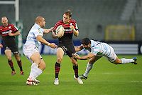 20121020 Copyright onEdition 2012©.Free for editorial use image, please credit: onEdition..Chris Wyles of Saracens is tackled by Luc Ducalcon (left) and Fabrice Estebanez of Racing Metro 92 during the Heineken Cup Round 2 match between Saracens and Racing Metro 92 at the King Baudouin Stadium, Brussels on Saturday 20th October 2012 (Photo by Rob Munro)..For press contacts contact: Sam Feasey at brandRapport on M: +44 (0)7717 757114 E: SFeasey@brand-rapport.com..If you require a higher resolution image or you have any other onEdition photographic enquiries, please contact onEdition on 0845 900 2 900 or email info@onEdition.com.This image is copyright the onEdition 2012©..This image has been supplied by onEdition and must be credited onEdition. The author is asserting his full Moral rights in relation to the publication of this image. Rights for onward transmission of any image or file is not granted or implied. Changing or deleting Copyright information is illegal as specified in the Copyright, Design and Patents Act 1988. If you are in any way unsure of your right to publish this image please contact onEdition on 0845 900 2 900 or email info@onEdition.com