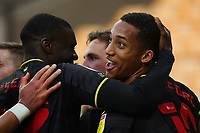 20th April 2021; Carrow Road, Norwich, Norfolk, England, English Football League Championship Football, Norwich versus Watford; João Pedro of Watford celebrates the goal by Dan Gosling for 0-1 in the 57th minute