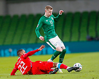 27th March 2021; Aviva Stadium, Dublin, Leinster, Ireland; 2022 World Cup Qualifier, Ireland versus Luxembourg; Marvin Martins of Luxembourg tackles the ball away from James McClean of Ireland