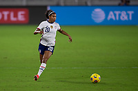 ORLANDO CITY, FL - FEBRUARY 18: Margaret Purce #20 looks for options as she runs with the ball during a game between Canada and USWNT at Exploria stadium on February 18, 2021 in Orlando City, Florida.