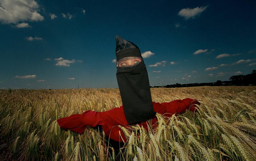 A scarecrow wearing niqab, Norfolk,UK.