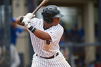 GCL Yankees East third baseman Daniel Barrios (28) at bat during the first game of a doubleheader against the GCL Blue Jays on July 24, 2017 at the Yankees Minor League Complex in Tampa, Florida.  GCL Blue Jays defeated the GCL Yankees East 6-3 in a game that originally started on July 8th.  (Mike Janes/Four Seam Images)