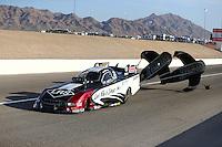 Apr 11, 2015; Las Vegas, NV, USA; NHRA funny car driver Tim Wilkerson during qualifying for the Summitracing.com Nationals at The Strip at Las Vegas Motor Speedway. Mandatory Credit: Mark J. Rebilas-