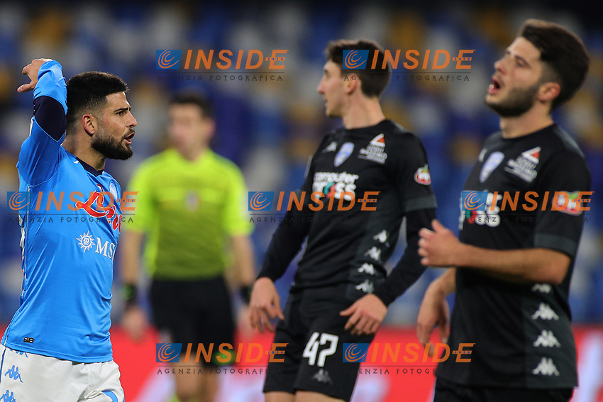 Lorenzo Insigne of SSC Napoli gestures during the Italy Cup football match between SSC Napoli and Empoli FC at stadio Diego Armando Maradona in Napoli (Italy), January 13, 2021. <br /> Photo Cesare Purini / Insidefoto