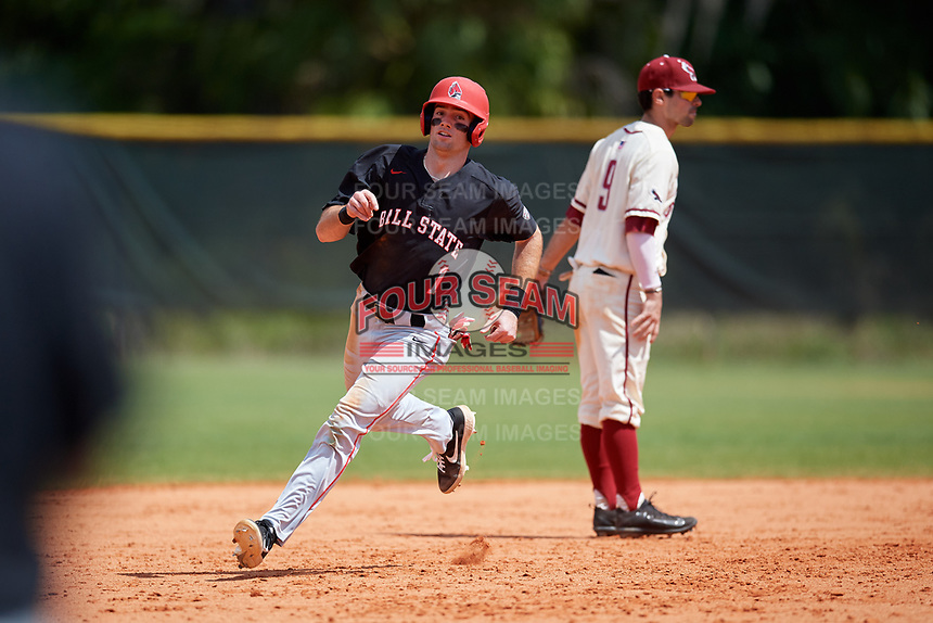 Ball State Cardinals center fielder Aaron Simpson (1) running the bases during a game against the Saint Joseph's Hawks on March 9, 2019 at North Charlotte Regional Park in Port Charlotte, Florida.  Ball State defeated Saint Joseph's 7-5.  (Mike Janes/Four Seam Images)