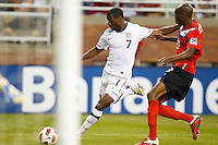 7 June 2011: USA Men's National Team midfielder Maurice Edu (7) takes a shot during the CONCACAF soccer match between USA MNT and Canada MNT at Ford Field Detroit, Michigan. USA won 2-0.