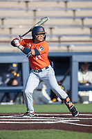 Illinois Fighting Illini shortstop Brandon Comia (23) at bat during the NCAA baseball game against the Michigan Wolverines on March 19, 2021 at Fisher Stadium in Ann Arbor, Michigan. Illinois won the game 7-4. (Andrew Woolley/Four Seam Images)