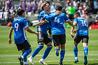 SAN JOSE, CA - APRIL 24: Cade Cowell #44 and Oswaldo Alanis #4 of the San Jose Earthquakes celebrate a goal during a game between FC Dallas and San Jose Earthquakes at PayPal Park on April 24, 2021 in San Jose, California.