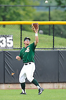 Brett Thomas #8 of the Clinton LumberKings catches a fly ball against the Kane County Cougars at Ashford University Field on July 6, 2014 in Clinton, Iowa. The LumberKings won 1-0.   (Dennis Hubbard/Four Seam Images)