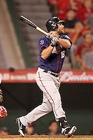 Minnesota Twins outfielder Jason Kubel #16 bats against the Los Angeles Angels at Angel Stadium on September 2, 2011 in Anaheim,California. Minnesota defeated Los Angeles 13-5.(Larry Goren/Four Seam Images)