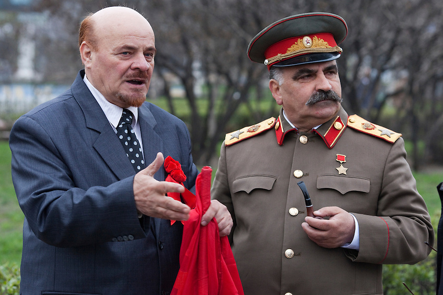 Moscow, Russia, 01/05/2011..Lenin & Stalin lookalikes join a mixture of Communist and anarchist anti-government groups demonstrating in central Moscow. A variety of political groups took to the streets on the traditional Russian Mayday holiday.