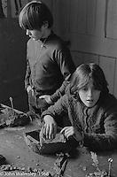 Clay modelling, Art room, Summerhill school, Leiston, Suffolk, UK. 1968.