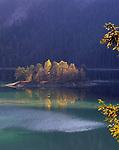 Deutschland, Bayern, Oberbayern bei Garmisch-Partenkirchen, Eibsee mit kleiner Insel im Herbst | Germany, Bavaria, Upper Bavaria near Garmisch-Partenkirchen, lake Eibsee with small island in autumn