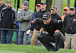 5 October 2008: Robert Allenby lines up a putt during the final round at the Turning Stone Golf Championship in Verona, New York.