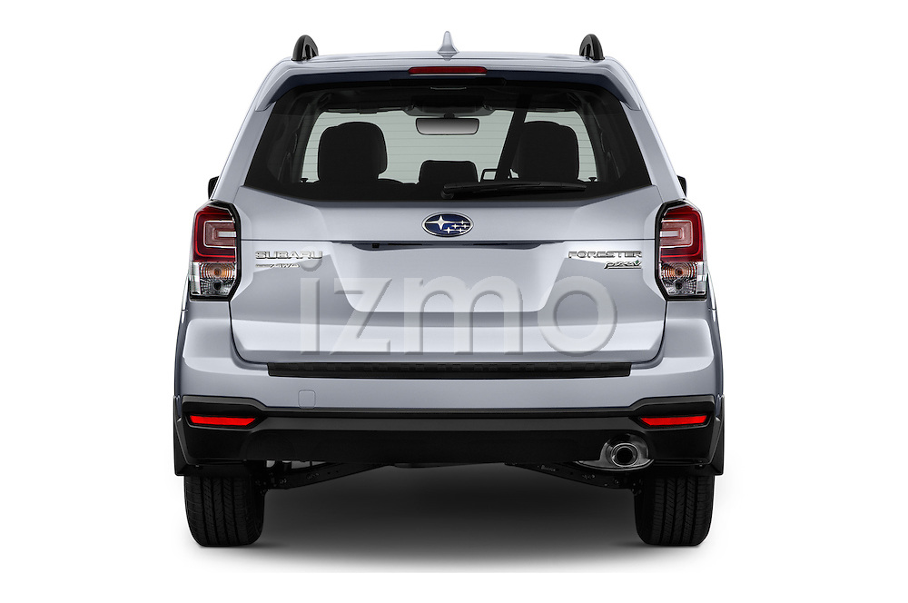 Straight rear view of 2018 Subaru Forester 2.5i-Limited-CVT 5 Door SUV Rear View  stock images