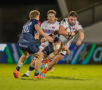 19th December 2020; AJ Bell Stadium, Salford, Lancashire, England; European Champions Cup Rugby, Sale Sharks versus Edinburgh;  Rory Sutherland of Edinburgh Rugby is tackled by Rob du Preez of Sale Sharks