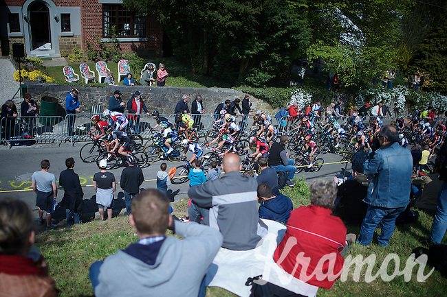 fans cheering as the women's peloton passes by in the first ascent up the infamous Mur de Huy (1300m/9.8%)<br /> <br /> Flèche Wallonne Féminine 2015