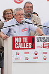 Expression of the Spanish trade unions against cuts and closures of public services.The secretary general of CC.OO of Spain Ignacio Fernandez Toxo (l) during the union rally after demonstration, in presence of Candido Mendez, Secretary general of UGT of Spain..(Alterphotos/Ricky)