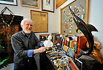 James Bilbro with some of his collections. Home of James and Peggy Bilbro on Monte Sano is decorated with artwork and souvenirs they have collected from around the world.    Bob Gathany photo