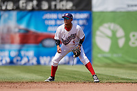 Auburn Doubledays shortstop Jose Sanchez (9) during a game against the Batavia Muckdogs on June 17, 2018 at Falcon Park in Auburn, New York.  Auburn defeated Batavia 10-8.  (Mike Janes/Four Seam Images)