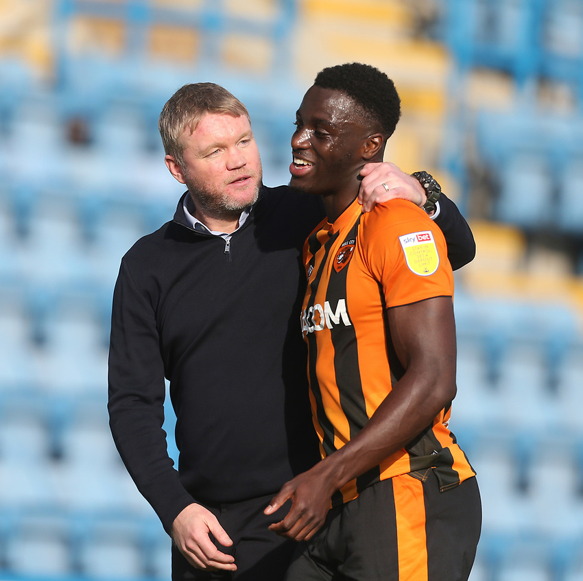 Hull City manager Grant McCann and Josh Emmanuel at the end of the game<br /> <br /> Photographer Rob Newell/CameraSport<br /> <br /> The EFL Sky Bet League One - Gillingham v Hull City - Saturday September 12th 2020 - Priestfield Stadium - Gillingham<br /> <br /> World Copyright © 2020 CameraSport. All rights reserved. 43 Linden Ave. Countesthorpe. Leicester. England. LE8 5PG - Tel: +44 (0) 116 277 4147 - admin@camerasport.com - www.camerasport.com