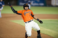 AZL Giants center fielder Heliot Ramos (31) slides into third base against the AZL Padres 2 on July 13, 2017 at Scottsdale Stadium in Scottsdale, Arizona. AZL Giants defeated the AZL Padres 2 11-3. (Zachary Lucy/Four Seam Images)