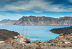 View of Santorini from Nea Kameni, Santorini, Greece
