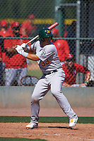 Oakland Athletics Jacob Nottingham (33) during an instructional league game against the Los Angeles Angels on October 9, 2015 at the Tempe Diablo Stadium Complex in Tempe, Arizona.  (Mike Janes/Four Seam Images)