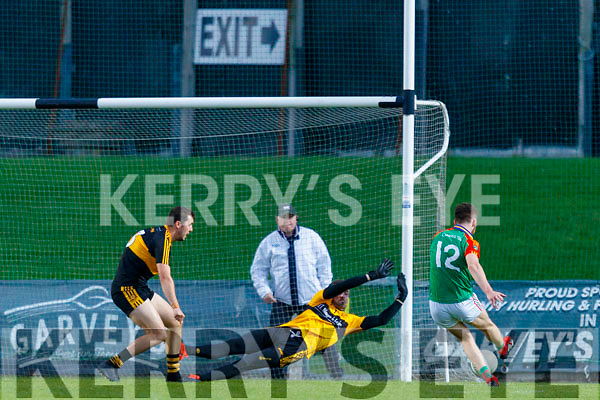 Ciaran Kennedy, Mid Kerry scores his side's first goal during the Kerry County Senior Football Championship Semi-Final match between Mid Kerry and Dr Crokes at Austin Stack Park in Tralee, Kerry.