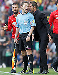 Atletico de Madrid's coach Diego Pablo Cholo Simeone have words with the referee line during La Liga match.May 17,2014. (ALTERPHOTOS/Acero)