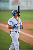 Cesar Mendoza (26) of the Ogden Raptors at bat against the Missoula Osprey at Lindquist Field on August 12, 2019 in Ogden, Utah. The Raptors defeated the Osprey 4-3. (Stephen Smith/Four Seam Images)
