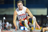 Roelf Pienarr of Arkansas State competes in first round of long jump during West Preliminary Track & Field Championships at John McDonnell Field, Thursday, May 29, 2014 in Fayetteville, Ark. (Mo Khursheed/TFV Media via AP Images)