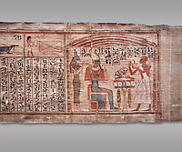 Ancient Egyptian Book of the Dead papyrus  - Scribe of Thebes Necropolis Nebhepet Book of the Dead, 21st Dynasty (1076-943C).Turin Egyptian Museum. Grey background