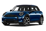 Stock pictures of low aggressive front three quarter view of 2021 MINI MINI Cooper-Yours 5 Door Hatchback Low Aggressive