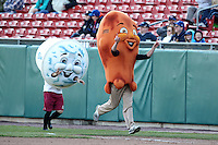 Buffalo Bisons on field promotion includes a chicken wing race with blue cheese and celery during a game against the Syracuse Chiefs at Dunn Tire Park on April 7, 2011 in Buffalo, New York.  Syracuse defeated Buffalo 8-5.  Photo By Mike Janes/Four Seam Images