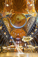 The Islamic decoration on the domes of the interior of Hagia Sophia ( Ayasofya ) , Istanbul, Turkey
