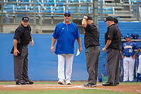 UC-Riverside Highlanders head coach Troy Percival and home plate umpire Blake Jensen during the home plate meeting before the game against the Cal Poly San Luis Obispo Mustangs at Riverside Sports Complex on May 26, 2018 in Riverside, California. The Cal Poly SLO Mustangs defeated the UC Riverside Highlanders 6-5. (Donn Parris/Four Seam Images)