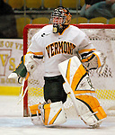 """19 January 2007: University of Vermont goaltender Joe Fallon (29) from Bemidji, MN, warms up prior to facing Boston College in a Hockey East division matchup at Gutterson Fieldhouse in Burlington, Vermont. The UVM Catamounts defeated the BC Eagles 3-2 before a record setting 50th consecutive sellout at """"the Gut""""...Mandatory Photo Credit: Ed Wolfstein Photo."""