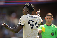 SAN JOSE, CA - AUGUST 8: Jesus Murillo #94 of Los Angeles FC is shown a yellow card by referee Rubiel Vazquez during a game between Los Angeles FC and San Jose Earthquakes at PayPal Park on August 8, 2021 in San Jose, California.