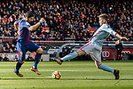Luis Suarez of FC Barcelona (L) fights for the ball with Andreu Fontas Prat of RC Celta de Vigo (R) during the La Liga 2017-18 match between FC Barcelona and RC Celta de Vigo at Camp Nou Stadium on 02 December 2017 in Barcelona, Spain. Photo by Vicens Gimenez / Power Sport Images