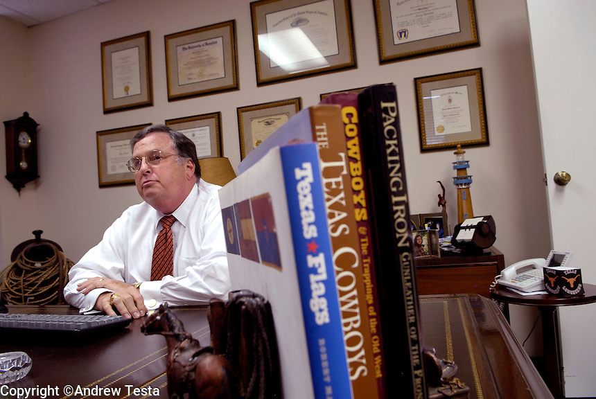 USA. Houston. 12 November 2007..Jerry Guerinot in his office in Houston. Mr Guerinot was Linda Carty's defence lawyer during her trial. He only spent one hour with Linda before her trial began. Previously he has represented 21 people who have ended up with the death sentence. Mr Guerinot is surrounded by Texan paraphernalia, in fact he comes from Rochester, New York..©Andrew Testa