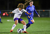 Kassandra Missipo (12) of Anderlecht pictured in a duel with midfielder Sien Vandersanden (10) of KRC Genk during a female soccer game between  Racing Genk Ladies and RSC Anderlecht on the 16 th matchday of the 2020 - 2021 season of Belgian Scooore Womens Super League , friday 12 th of March 2021  in Genk , Belgium . PHOTO SPORTPIX.BE   SPP   SEVIL OKTEM