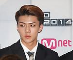 Se-Hun( EXO-K), Aug 11, 2014 : Sehun of South Korean-Chinese K-Pop idol boy band EXO, attends a presentation for their new show on Mnet, 'EXO 90:2014', at CJ E&M Center in Seoul, South Korea.  (Photo by Lee Jae-Won/AFLO) (SOUTH KOREA)