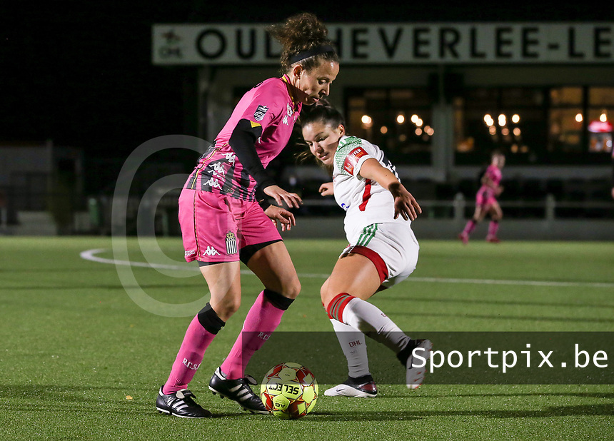 Ines Dhaou  and Luna Vanzeir (10 OHL) in action during a female soccer game between Oud Heverlee Leuven and Sporting de Charleroi on the seventh matchday of the 2020 - 2021 season of Belgian Womens Super League , sunday 15 th of November 2020  in Heverlee , Belgium . PHOTO SPORTPIX.BE | SPP | SEVIL OKTEM
