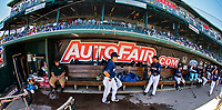18 July 2018: The New Hampshire Fisher Cats prepare in the dugout prior to games against the Trenton Thunder at Northeast Delta Dental Stadium in Manchester, NH. Mandatory Credit: Ed Wolfstein Photo *** RAW (NEF) Image File Available ***
