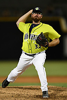 Pitcher Matt Pobereyko (32) of the Columbia Fireflies delivers a pitch in a game against the Augusta GreenJackets on Saturday, July 29, 2017, at Spirit Communications Park in Columbia, South Carolina. Columbia won, 3-0. (Tom Priddy/Four Seam Images)