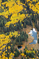 Aerial of fall yellow aspen with ponds, Colorado