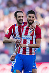 Yannick Ferreira Carrasco (R) celebrates his score with Juan Francisco Torres Belen, Juanfran, (L) during the La Liga match between Atletico de Madrid vs Osasuna at the Estadio Vicente Calderon on 15 April 2017 in Madrid, Spain. Photo by Diego Gonzalez Souto / Power Sport Images